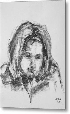 Little Girl With Hairband Metal Print by Barbara Pommerenke