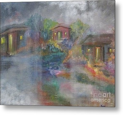 Metal Print featuring the painting Little Houses On A Rainy Night  by Nereida Rodriguez