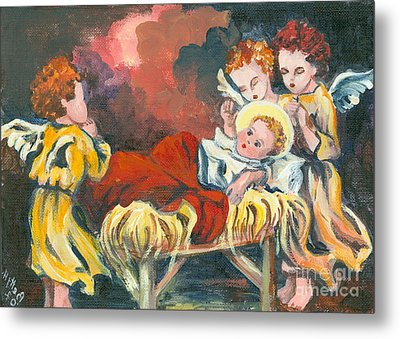 Little Jesus And The Angels Metal Print by Elisabeta Hermann