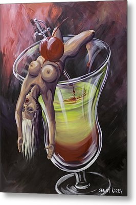 Little Miss Liquid Courage Metal Print by Jenny Kirby