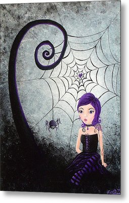 Little Miss Muffet Metal Print by Oddball Art Co by Lizzy Love