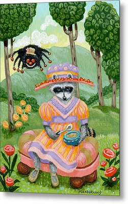 Little Miss Raccoon Muffett Metal Print by Jacquelin Vanderwood