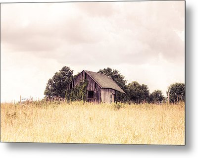Little Old Barn In A Field - Landscape  Metal Print by Gary Heller