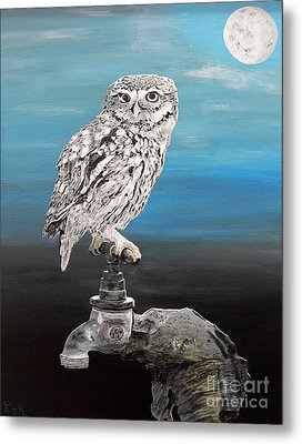 Metal Print featuring the painting Little Owl On Tap by Eric Kempson