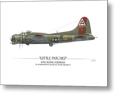 Little Patches B-17 Flying Fortress - White Background Metal Print by Craig Tinder