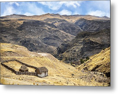 Little Peasant Hut In Mountains Metal Print