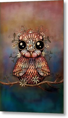 Little Rainbow Flower Owl Metal Print by Karin Taylor