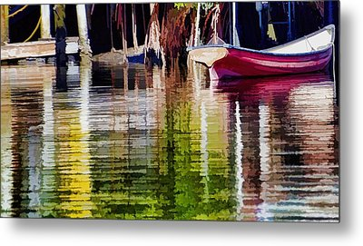 Metal Print featuring the photograph Little Red Row Boat by Pamela Blizzard