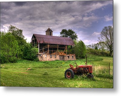 Little Red Tractor Metal Print by David Simons