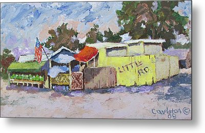 Little Road Farm Market Metal Print by Tony Caviston