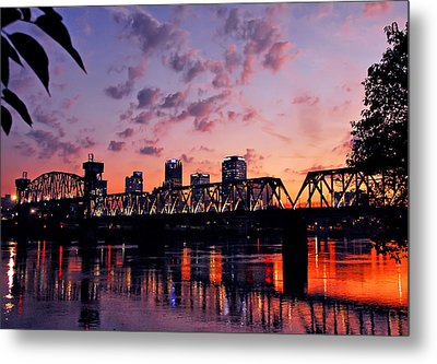 Metal Print featuring the photograph Little Rock Bridge Sunset by Mitchell R Grosky