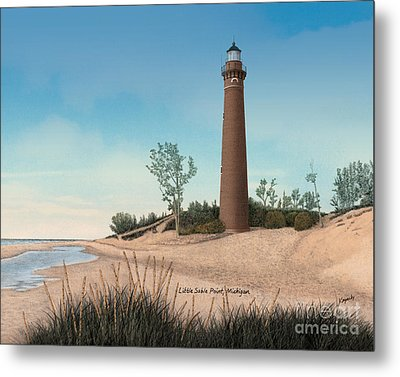 Little Sable Point Lighthouse Titled Metal Print by Darren Kopecky