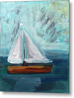 Little Sailboat- Expressionist Painting Metal Print by Linda Woods
