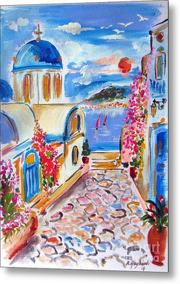 Little Santorini Alley Metal Print