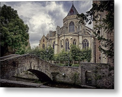 Little Stone Bridge By The Church Metal Print by Joan Carroll