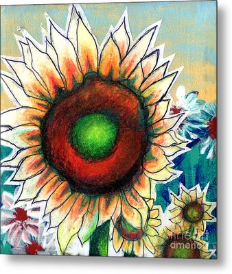 Little Sunflower Metal Print by Genevieve Esson
