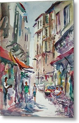 Metal Print featuring the painting Little Trip At Exotic Streets In Istanbul by Faruk Koksal