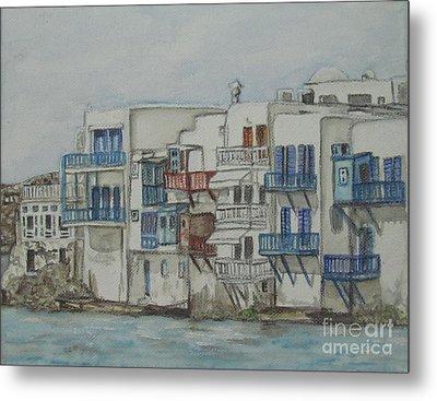 Little Venice Mykonos Greece Metal Print by Malinda  Prudhomme