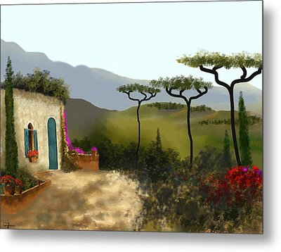Little Villa Of Tuscany Metal Print by Larry Cirigliano