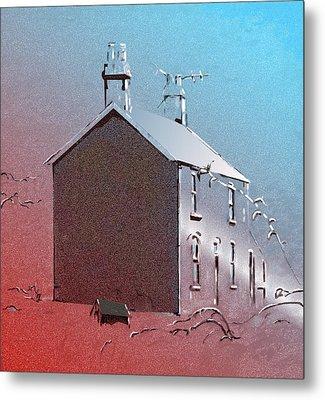 Welsh House In Snow Metal Print