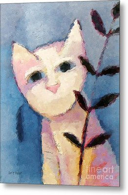 Little White Cat Metal Print