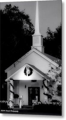 Little White Church Bw Metal Print by Debra Forand