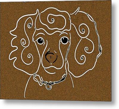 Little White Poodle Metal Print by Ellsbeth Page