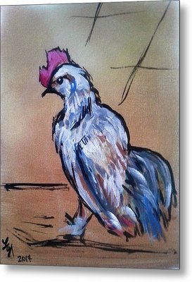 Little White Rooster Metal Print by Loretta Nash