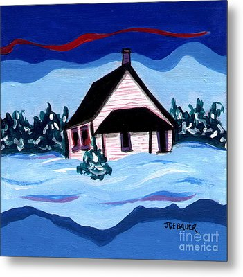 Metal Print featuring the painting Little White Schoolhouse by Joyce Gebauer