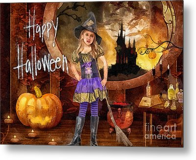 Little Witch Metal Print by Mo T