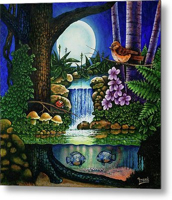 Metal Print featuring the painting Little World Chapter Full Moon by Michael Frank