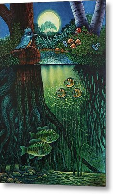 Metal Print featuring the painting Little World Chapter Kingfisher by Michael Frank