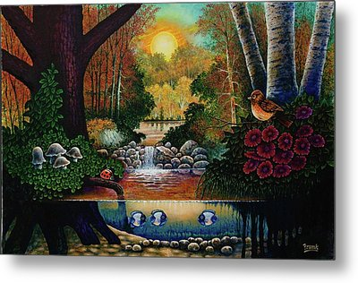 Metal Print featuring the painting Little World Chapter Sunset by Michael Frank