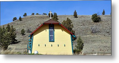Little Yellow Church Metal Print by Heather L Wright
