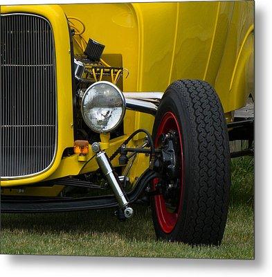 Little Yellow Coupe In Flushing Michigan Metal Print