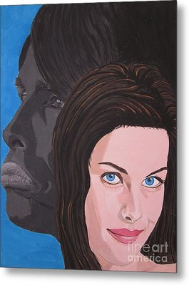 Metal Print featuring the painting Liv Tyler With Silhouet Steven Tyler by Jeepee Aero