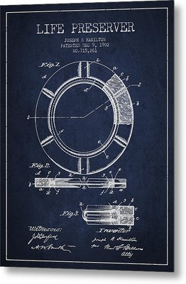 Live Preserver Patent From 1902 - Navy Blue Metal Print by Aged Pixel