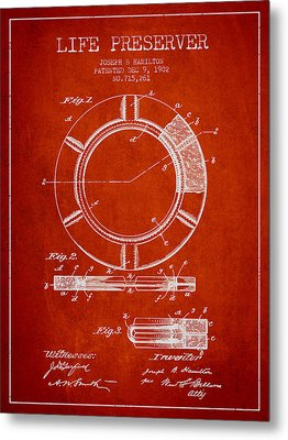 Live Preserver Patent From 1902 - Red Metal Print by Aged Pixel