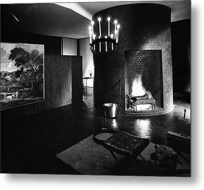 Living Room In House Designed By Philip C Metal Print by Andr? Kert?sz