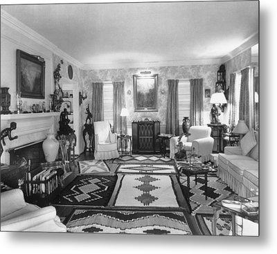 Living Room Of J. Edgar Hoovers Living Metal Print by Everett
