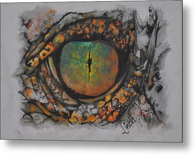 Metal Print featuring the pastel Lizards Eye by Linda Ferreira