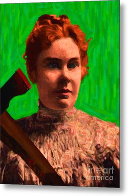 Lizzie Bordon Took An Ax - Painterly - Green Metal Print by Wingsdomain Art and Photography