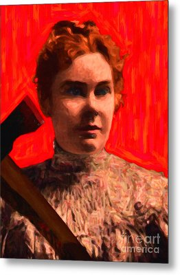 Lizzie Bordon Took An Ax - Painterly - Red Metal Print by Wingsdomain Art and Photography