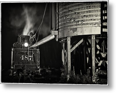Loading Water At Chama Train Station Metal Print by Priscilla Burgers