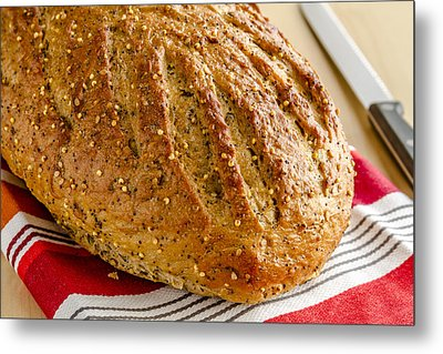 Loaf Of Whole Grains And Seeded Bread Metal Print by Teri Virbickis