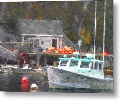 Lobster Boat New Harbor Maine Painterly Effect Metal Print by Carol Leigh