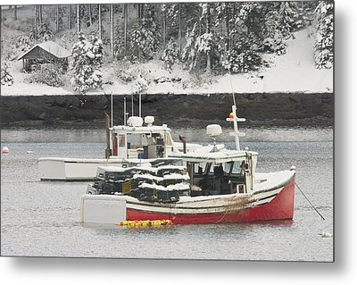 Lobster Boats After Snowstorm In Tenants Harbor Maine Metal Print by Keith Webber Jr