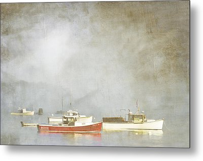 Lobster Boats At Anchor Bar Harbor Maine Metal Print by Carol Leigh