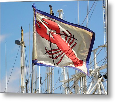Lobster Flag At The Point Metal Print by Mary Carol Williams