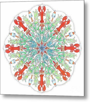 Lobster Mandala Metal Print